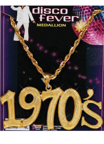 Disco Fever Medallion - 1970s Necklace