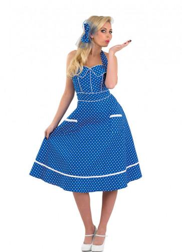 1950s Polkadot Blue Dress Costume