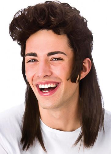 80s Shoulder Length Brown Mullet Wig