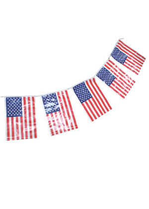 """United States - USA - Plastic Bunting 23ft in length - Flag size 8""""x12"""""""