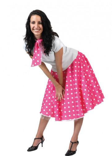 1950s Rock and Roll Polkadot Skirt (Pink)