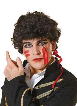 Adam Ant Wig - Black with ribbons