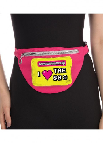 """I Love the 80s Bumbag - Pixel Heart - up to 38"""" Waist"""