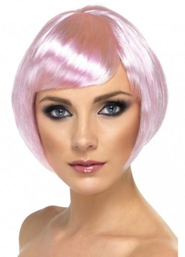 Babe Bob Wig with Side Fringe - Light Pink