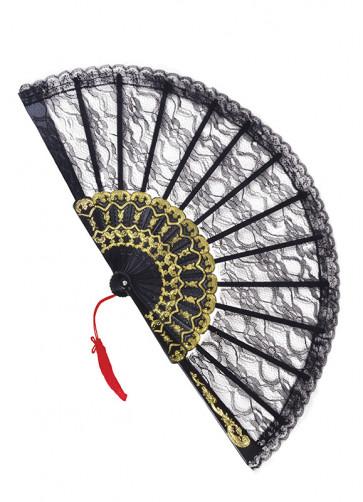 Black Lace Fan with gold detail - 23cm