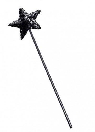 Black Sequin Star Wand