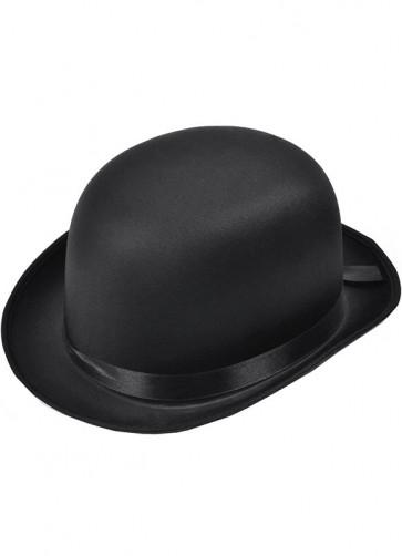 Bowler Hat Black - Satin
