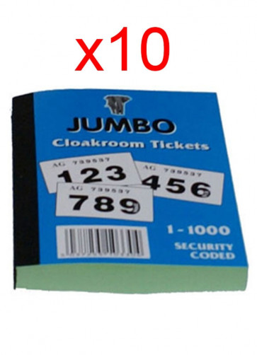 Cloakroom Tickets: 1-1000 - 10 pack