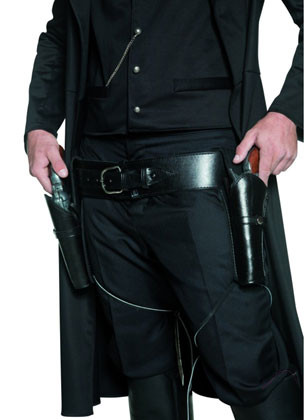 Black Double holster and Guns set - Faux Leather