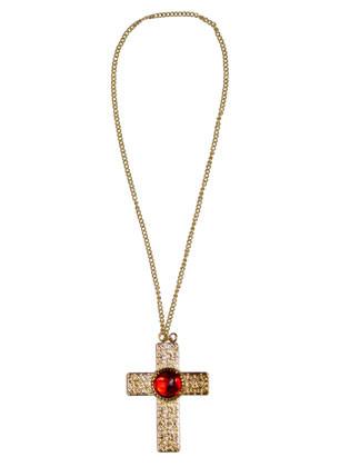 Cross Medallion - Red Stone