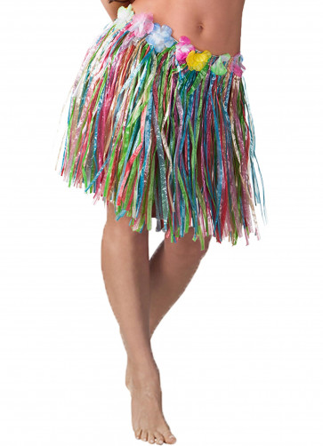 """Hawaiian Short Multi Grass Skirt With Flowers - will fit up to waist size 40"""" or 102cm"""