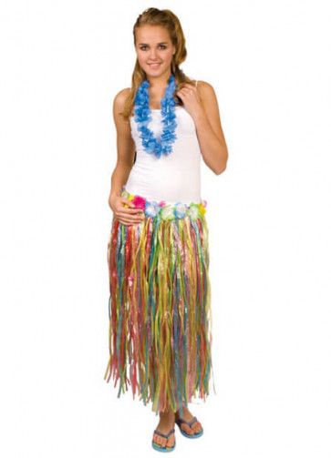 """Hawaiian Long Multi Grass Skirt With Flowers - will fit up to waist size 36"""" or 92cm"""