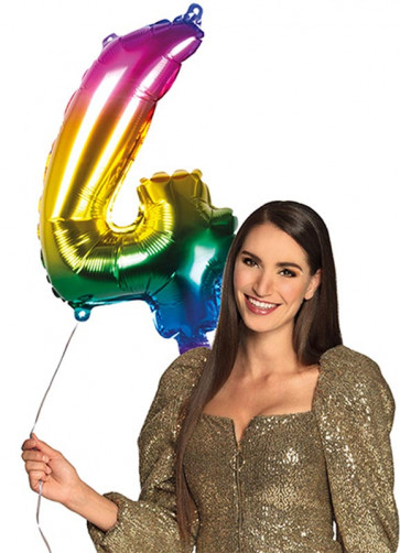 Rainbow Foil Balloon Number 4 – Helium or Air-fill – 66cm
