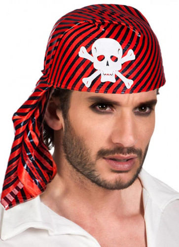 Red & Balck Striped Pirate Skull Cap