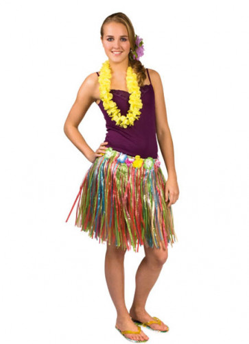 "Hawaiian Short Multi Grass Skirt With Flowers - will fit up to waist size 40"" or 102cm"