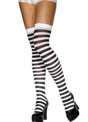 Black & White Striped Stockings - Dress Size 6-14