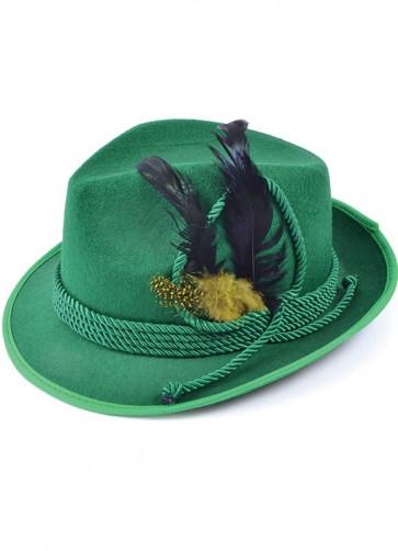 Traditional Bavarian Oktoberfest Felt Hat - Green