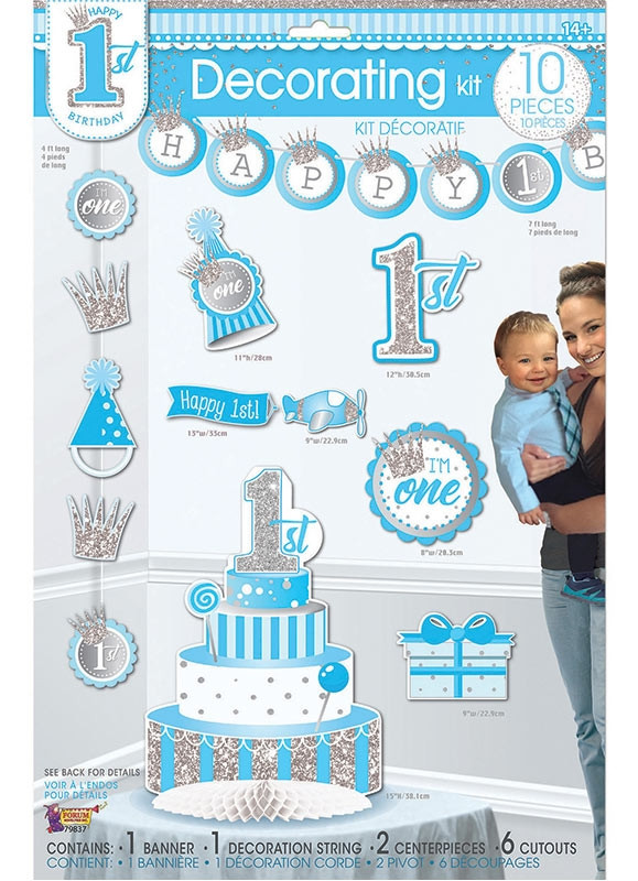 Outstanding Happy 1St Birthday Decorating Kit Baby Boy 10 Piece Set Personalised Birthday Cards Beptaeletsinfo