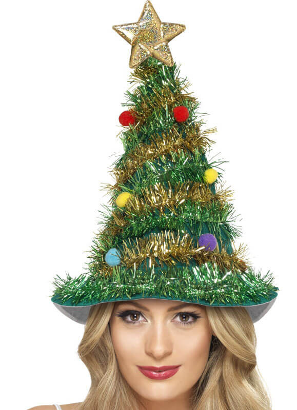 Christmas Tree Tinsel.Christmas Tree Hat Tinsel Star And Baubles