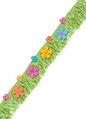 Hawaiian Hibiscus Grass Fringe Banner