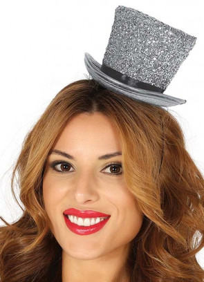 Mini Glitter Top Hat – Silver