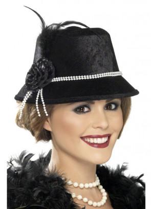 1920's Flapper Cloche Hat (Pearl)