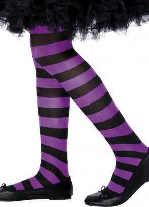 Kids Striped Tights - Purple & Black - Age 8-12