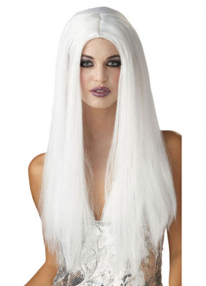 """White 24"""" Centre Parting Wig"""