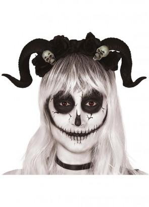Skull & Flower Horns on Headband
