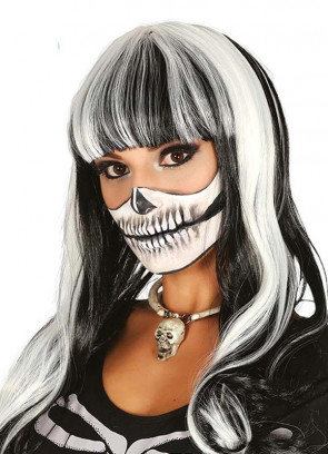 Black & White Long Fringe Wig