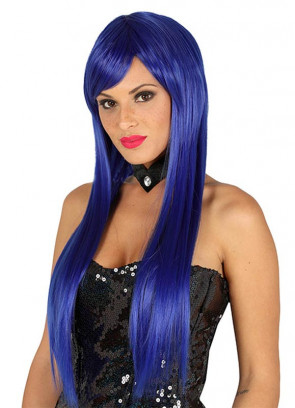 Long Straight Dark Blue Wig with Side Fringe