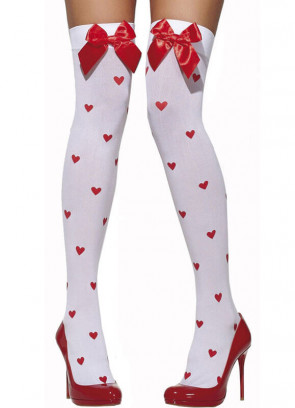 Stockings (White With Red Bow And Hearts)
