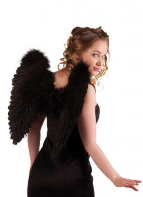 Angel Wings Black Pointy Feather (Medium) 50cm x 50cm