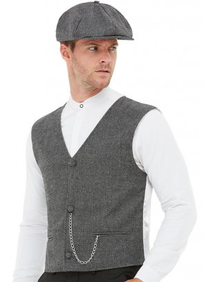1920s Gangster Kit - Waistcoat and Cap - Chest 38-40