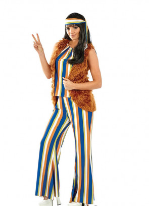 60s Hippie Singer with Fur Gilet