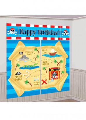 Pirate Treasure Map Scene Setter (5 Piece Pack)