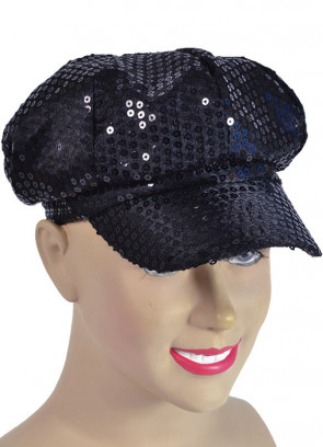 Black Sequin Disco Cap