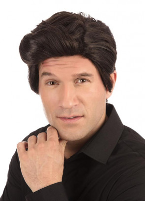70s Used Car Salesman Short Voluminous Dark Brown Wig with Side Parting