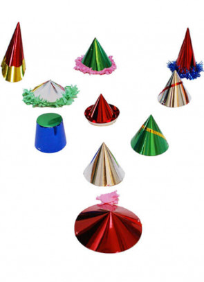 12 Mini Paper Party Hats (assorted)