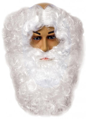 White Santa Wig & Beard - Monks-pat design wig