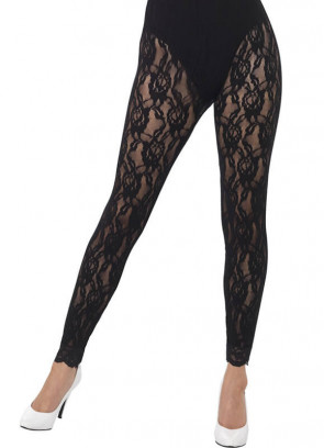 80's Lace Footless Tights, Black