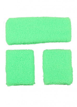 80's Sweatbands and Wristbands - Neon Green