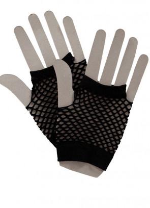 80s Fishnet Gloves Black - Short