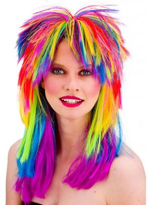80s Pop Rainbow Spiked Shoulder Length Unisex Rocker Wig