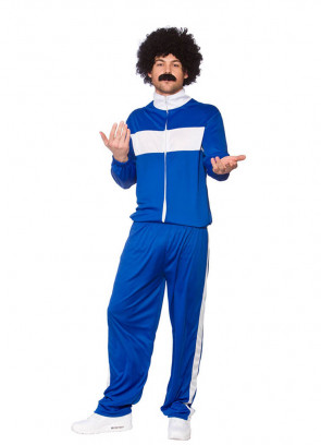 Blue 80s Retro Trackie Blue - Shell-Suit