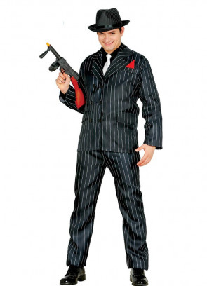 Black Pinstripe Gangster Suit with Red Handkerchief