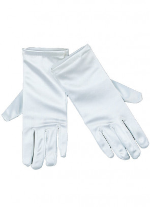 White Thick Satin - Adult Gloves