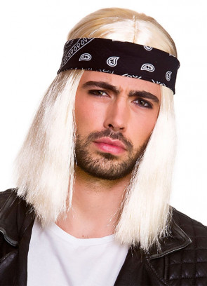 90's Blonde Rocker Wig with Separate Black Bandana