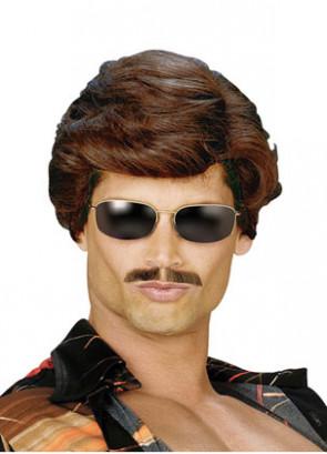 70s Used Car Salesman Dark Brown Wig