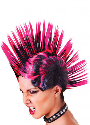 Mohican Wig Black & Pink